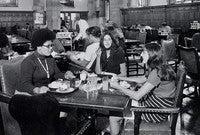 Stephanie Brown, Alexis Krasilovsky, and Doris Zaleznik have lunch together in Berkeley College dining hall, 1969