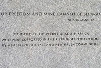 A quotation from Nelson Mandela carved on the granite wall north of Yale's Beinecke Library.