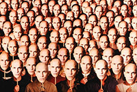 "The poster for the film ""Being John Malkovich,"" which depicts multiple images of the actor."