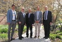 Martin Wikelski, Martin Stratmann, Yale President Peter Salovey, Walter Jetz, and Peter Schiffer.