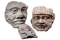 Ancient Mesopotamian face masks.