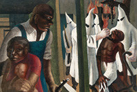 A painting depicting an African-American family in a house with the Ku Klux Klan lynching a young black man outside.