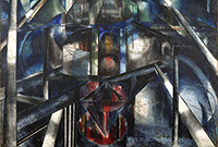 """Detail from the painting titled """"Joseph Stella and the View from Brooklyn."""""""
