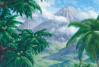 A painting of a tropical forest with a volcano in the background.