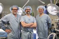 Dr. Peter J. Gruber, Dr. Jeremy Asnes, and and Dr.T-Y Hsia in the Yale New Haven heart center OR.