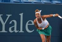 Tennis player Petra Kvitova in mid-swing