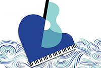 A stylized graphic of a merged guitar and a piano.