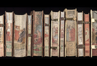 A series of antique books with fore edges painted by artist Cesare Vellecio in the 1850s.