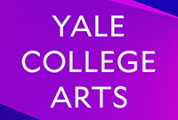 "A text poster displaying ""Yale College Arts"" in white type against a purple background."