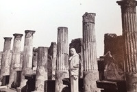 Pillars of a ruined building in Pompeii.