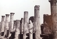 Pillars of a wrecked building in Pompeii.