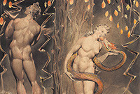 A painting of Adam and Eve, the latter biting an apple that is fed to her by a serpent.