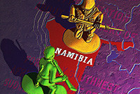 Two toy soliders confront each other over a map of Namibia.