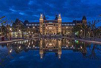 A photo of the Rijksmuseum in Amsterdam.