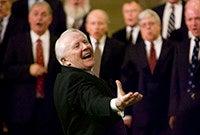 Members of the Yale Russian Chorus performing.