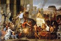"Charles Le Brun's painting, titled ""Alexander Entering Babylon."""