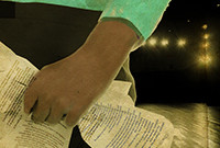 A stylized poster depicting a black woman holding pages of a play script.