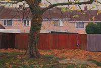 "Artist George Shaw's painting, ""It's All The Same to Me,"" depicting row houses."