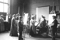 Male and female students sketching in a studio from an earlier era.