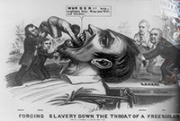 A poster depicting an image of slavery being forced down the throat of a larger figure.