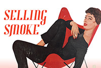 A stylized graphic tobacco advertisement depicting a woman louning in a red chair.