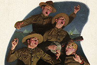 A caricature of four American soliders of the First World War singing.