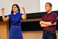 Liz Neeley and Ed Yong speak at the O.C. March Lecture Hall on Sept. 23.