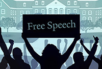 """An illustration of a crowd, with a woman holding a """"Freen Speech"""" sign."""