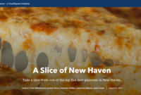 """The title screen from one of the student projects generated during DigiCamp — a """"story map"""" of the best pizza in New Haven."""