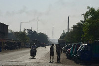 Pollution on a city street in Surat, Gujarat, indfia