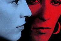 A stylized photo of the heads of two women, one colored blue and one colored red.