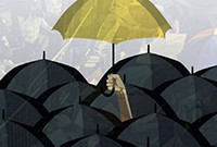 "A poster for ""Umbrella Diaries: The First Umbrella,"" depicting an image of a yellow umbrella being held above black umbrellas."