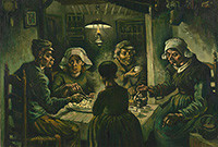 "Vincent van Gogh's painting titled ""The Potato Eaters,"" depicting a family eating dinner."