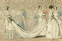 Painting of a bridesmaids holding the gown of a bride.