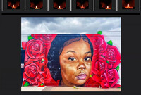 A screenshot of a Zoom vigil: a mural of Breonna Taylor with participants holding candles in windows above
