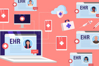 An illustration of electronic health records and electronic devices.