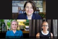 Clockwise from top: Senator Amy Klobuchar '82 B.A., Assistant Dean Risë Nelson, Hillary Clinton '73 J.D.