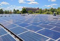 Solar panels at Yale West Campus.