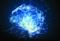 Artificial intelligence concept: blue plexus lines, dots and polygons forming a human brain.